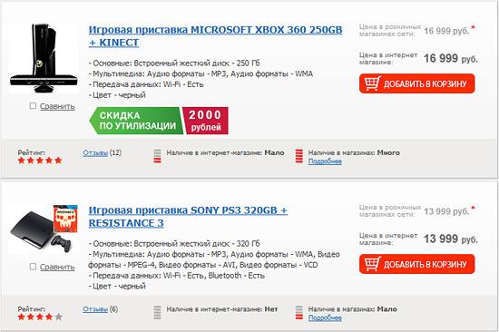 Цены на PS3 и Xbox 360